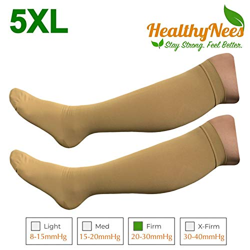 HealthyNees Closed Toe Extra Big Wide Calf Shin Plus Size 20-30 mmHg Compression Grade Leg Length Swelling Circulation Women Men Socks (Beige, Extra Wide Calf 5XL)