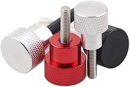 Screw 10pcs M4 Aluminum knurled Head Stainless Steel Step Hand Thumb Screws Size: M4, Length: 10mm, Color: Red