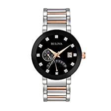 Bulova Men's Diamond Dial Two-Tone Watch