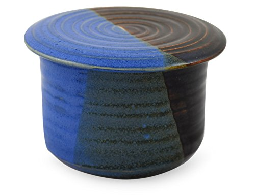 American Handmade Stoneware Pottery French Butter Keeper Crock (Lakeside Blue) Flow Blue Pottery