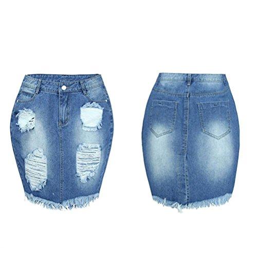 Ouneed® Femme Jeans Jupe Crayon Boyfriends Jupe Troue Haut Taille