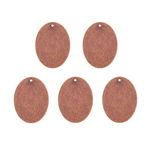 - Pandahall 5pcs Red Copper Brass Blank Stamping Tag Pendants Metal Alphabet Letter Stamps Tags Charms for Jewelry Necklace Makings 1.18x1.57 inch Oval