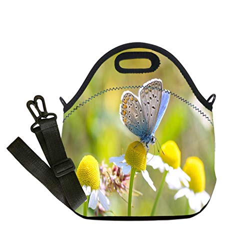 Butterfly Studded Tote - Custom Digital Printing Insulated Lunch Bag,Neoprene Lunch Tote Bags Plebeius Argus Butterfly on a leave (Silver Studded Blue Butterfly) Lunch Bag- Insulated and Reusable Artful Design