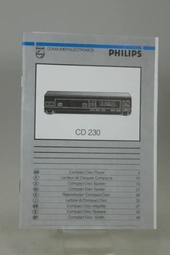 Compra Manual propietario de Manual Philips reproductor de CD jugador CD 230 en Amazon.es