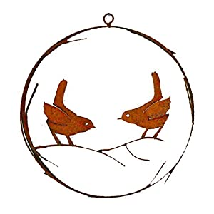 Elegant Garden Design Bird Wire Wreath, Rusty Patina 15