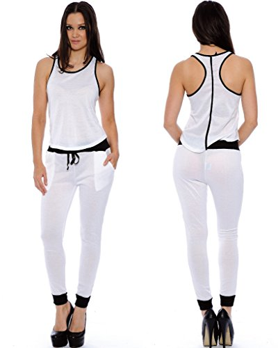 Enimay Women's Chelsea Voile Racer Back Tank Top Pocket Jumpsuit White - Jumpsuit Chelsea