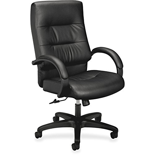 basyx by HON Leather Executive Chair - High Back Armed Office Chair for Computer Desk, Black (HVL691)