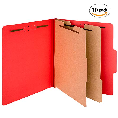 Office Ray Pressboard Expandable Classification File Folder with Prongs, Tabs, 2 Dividers, 2 Fasteners, 2.5-inch Expansion, Letter Size | Pack of 10 Folders | Perfect for Organizing Important Files ()