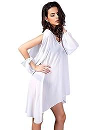 Honeystore Women's Sheer Bikini Cover Up Blouse Beach Long Sleeve V Neck Dresses