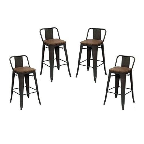 Purenity Matte Metal Industrial Wood Top Bar Counter Stool with Back, Vintage Metal Design Indoor/Outdoor, Set of 4