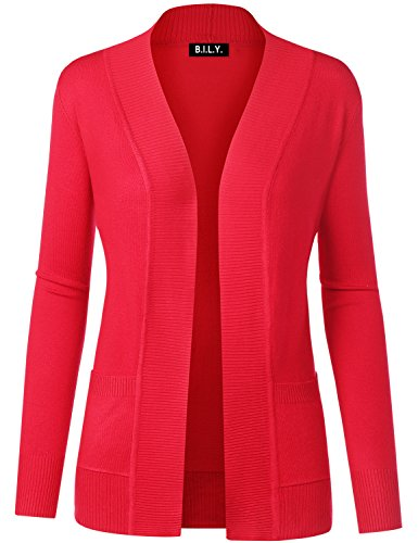 BH B.I.L.Y USA Women's Open Front Long Sleeve Classic Knit Cardigan Red X-Large