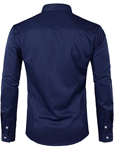 Whatlees Mens Hipster Casual Slim Fit Long Sleeve Button Down Dress Shirts Tops with Embroidery T28-Navy Blue Medium