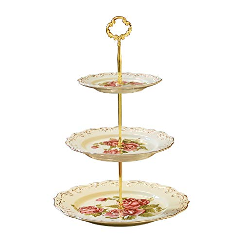 YOLIFE Red Rose Pattern 3 Tiered CupCake Stand, Emboss Golden Leaves Edge Porcelain 3 Tier Pastry Stand Desert Stand