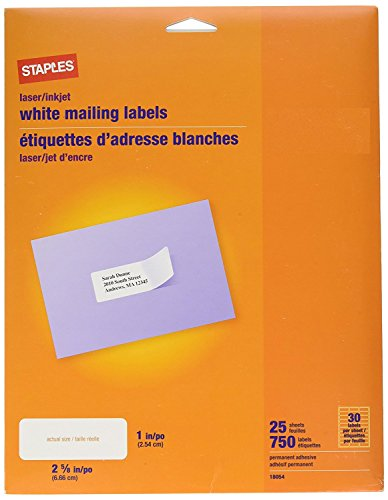 lovely staples white mailing labels for laser printers 1 x 2 62