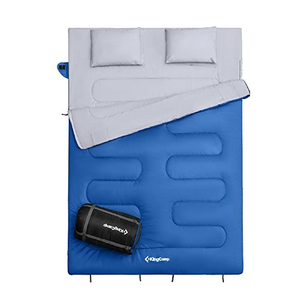 KingCamp Queen Size Sleeping Bag 26 F 3C With 2 Pillows And Compression Bag