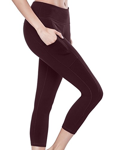 ALONG FIT Yoga Pants Running Leggings Pocket Leggings 4 Way Stretch Yoga Capris for Women Ultra Soft Lightweight