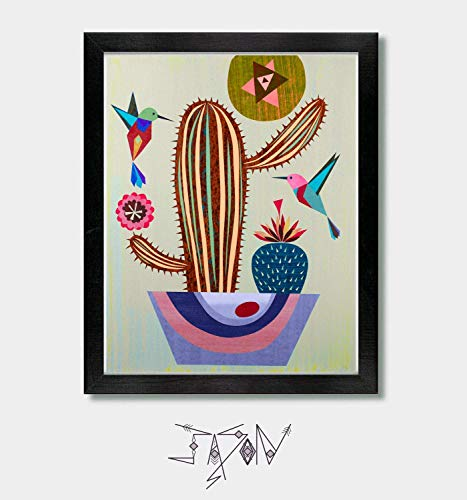 Under The Desert Sun - by Artist Jason Smith - Southwestern Decor, Mid Century Modern, Mexican, Mid Century Decor, Hummingbird Print, Mexican, Mexican Folk Art, Arizona, Texas, New Mexico, California