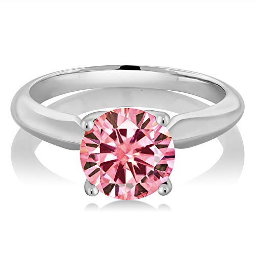 (Gem Stone King 925 Sterling Silver Solitaire Ring Pink Round Created Moissanite 1.90ct DEW (Size 7))