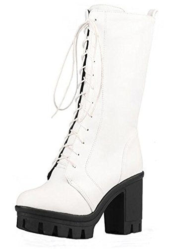 Easemax Women's Chic Lace Up Chunky Heel Platform Mid Calf Combat Boots White 7.5 B(M) US