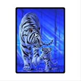 "50"" x 80"" Blanket Comfort Warmth Soft Cozy Air conditioning Easy Care Machine Wash white tiger Blue"
