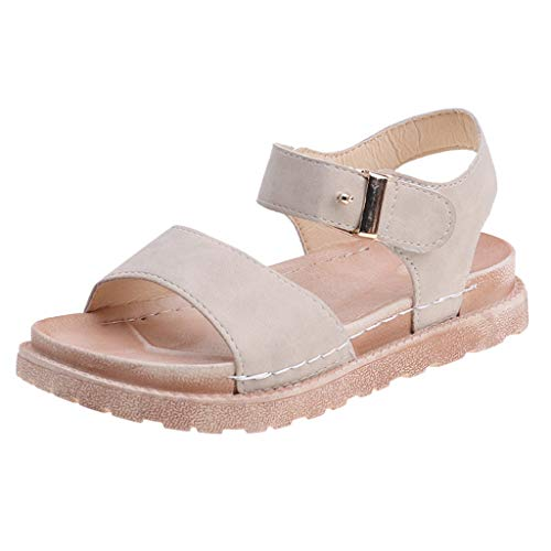 (Severkill Women's Cute Open Toes One Band Ankle Strap Flexible Faux Leather Summer Flat Sandals New)