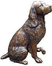 QKFON Schattige hond standbeeld, simulatie honden standbeelden gepersonaliseerde dieren Ornament creatieve hars tuin beelden buiten landschap decoratie voor thuis tuin binnenplaats