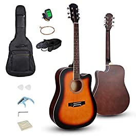 Smartxchoices 6 String 41″ Full Size Acoustic Guitar Cutaway Wooden Guitar Set w/Gig Bag Strap, Tuner, Capo,Extra Strings Set Pick for Adult Kids Beginner Starter Students Right-handed (Sunburst)