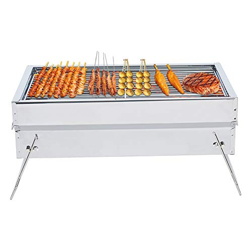 Charcoal Grill Portable Charcoal Grill Folding BBQ Grill Stainless Steel Hibachi Grill for Tabletop Camping Grill…