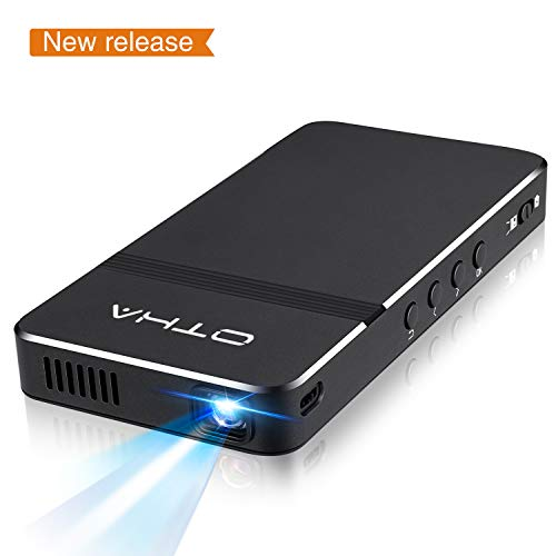 Mini Portable Projector - OTHA 1080p HD Rechargeable DLP Pico Projector with HDMI, USB, TF, and Micro SD Supports iPhone iPad PC Fire Stick,Auto Keystone Correction