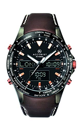 Accurist Mens Analogue-Digital Quartz Watch with Leather Strap 7101.01