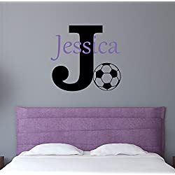 Custom Name Sports Wall Decal - Boys Girls Personalized Name Soccer Sports Wall Sticker - Custom Name Sign - Custom Name Stencil Monogram - Boys Girls Room Wall Decor