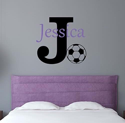 Custom Name Sports Wall Decal - Boys Girls Personalized Name Soccer Sports Wall Sticker - Custom Name Sign - Custom Name Stencil Monogram - Boys Girls Room Wall Decor