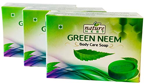 Nature Nest Green Neem Handmade Organic Body Care Soap 3 Bulk Pack 150g Emblica officinalis, Artemisia Vulgaris & Green Tea Extracts Herb Ingredients & Therapeutic Natural Essential Oils ()