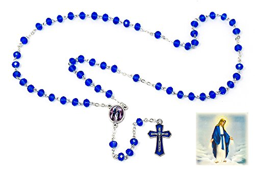 Ave Maria Miraculous Rosary Beads with Blue Crystal Beads, Blue Crucifix and a Miraculous Medal Rosary Box & Lourdes Prayer ()