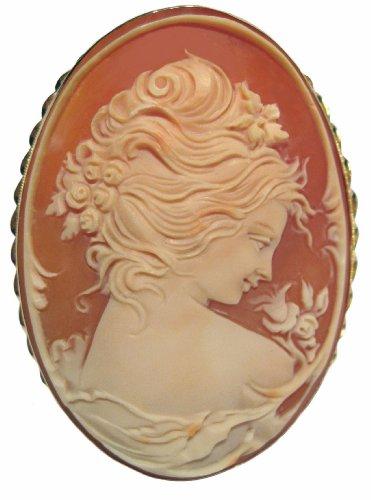 Cameo Brooch Master Carved, Italian Venus Pin Pendant 14k Gold