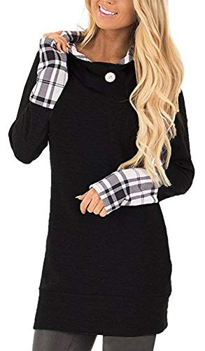 - Yingkis Women's Long Sleeve Plaid Hoodies Tunic Tops Button Cowl Neck Casual Slim Blouse,Black S