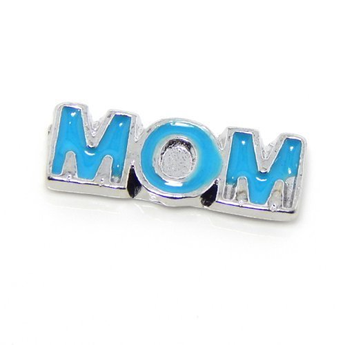 Jewelry Monster Blue Enamel Mom for Floating Charm Lockets 00991 by Jewelry Monster