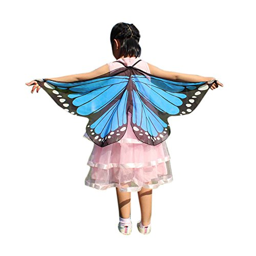 Child Kids Butterfly Wings Girls Bohemian Butterfly Print Shawl Unisex Children Pashmina Costume Accessory ICODOD(Sky Blue)