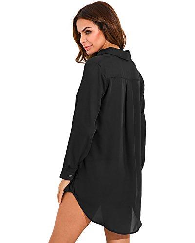 V Tunique Manches Femme Mousseline Blouse Zanzea Shirt Col Robe Longues Haut Top Noir Casual aXqnapwxP