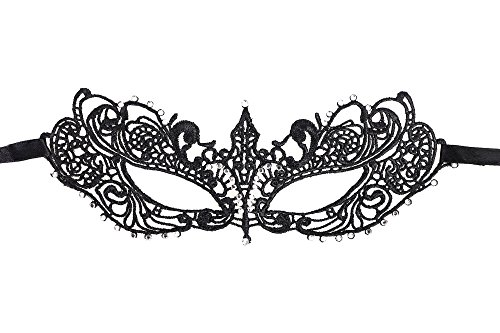 AshopZ Women's Classic Goddess Venetian Masquerade Lace Eye Mask, Black with Rhinestone -