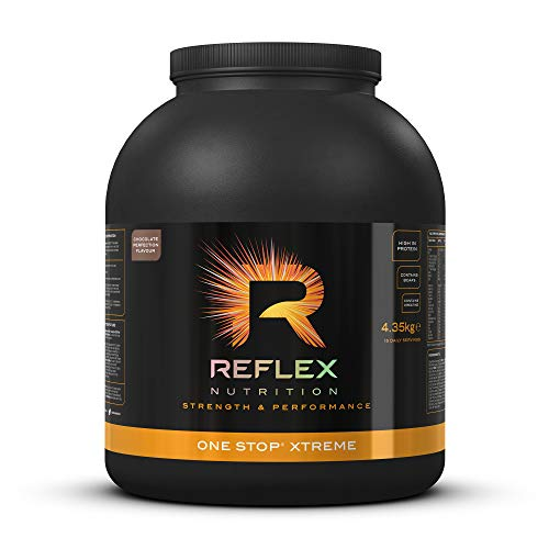 Reflex Nutrition One Stop Xtreme Serious Mass PROTEIN POWDER 55g PROTEIN 10.3g BCAA'S, 73g low GI carbs 5,000mg Creatine & Added Vitamins (Chocolate Perfection) (4.35kg) (Made in the UK)