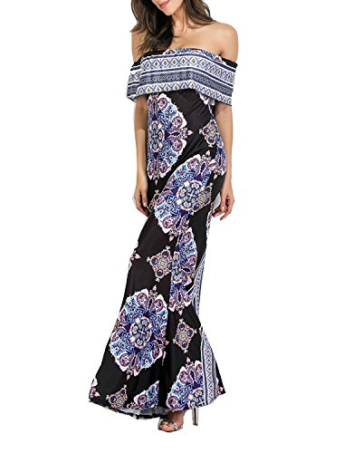 Multi Color Off Floral Women's Party Dress Wedding Ruffle Shoulder Flowers Large shangke Printed Mai pU7Oqx4ww
