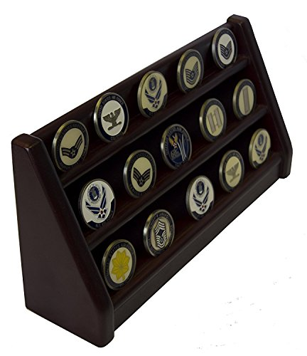 DECOMIL - 3 Rows Shelf Challenge Coin Holder Display Casino Chips Holder