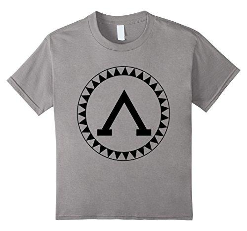 Kids Spartan Shield T-Shirt Sparta Iliad Ancient Greece Greek Tee 8 Slate
