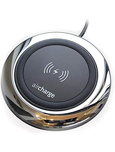 aircharge Official Executive Wireless Charger  Certified Wireless Charging Pad for Apple iPhone XS XS Max XR 8 8 Plus  AirPods  Samsung Galaxy S10 S10  S10e S9 S9  S8 S7 Note 8 9  Chrome Nylon