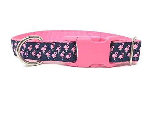 Big Pup Pet Fashion Trendy Pink Flamingo Dog Collar On Pink and Blue Print for Girls, Cute Girly Dog Collar (L 1