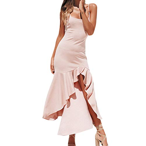 (Tronet Sexy Dress for Ladies in usaWomen Sexy Ruffle Off Shoulder Sleeveless Dress Princess Dress PK/M Pink)