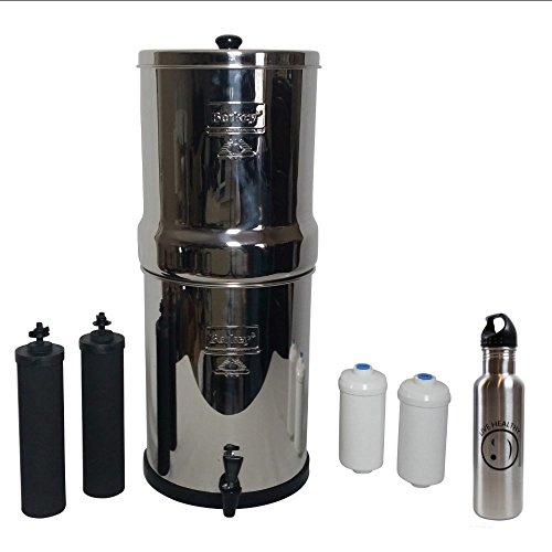 Royal Berkey Water Filter 3 Gallon Stainless Steel Bundle - 2 BB9 & 2 Fluoride Filters w/ Stainless Steel Water Bottle (Royal Berkey 3 Gallons) by Berkey