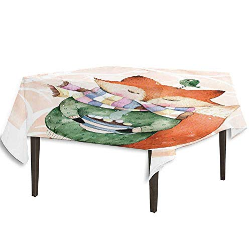 kangkaishi Watercolor Leakproof Polyester Tablecloth Cute Little Fox