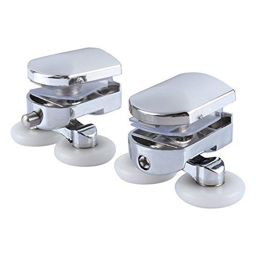 Assembly Package Roller Shower Door (Shower Door Rollers Replacement, 23mm Wheels Twin Double Bottom Zinc Alloy for Sliding Shower Glass Door)